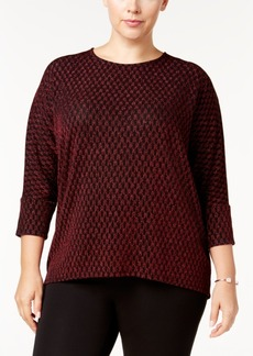 Alfani Plus Size Metallic-Print Dolman-Sleeve Top, Created for Macy's