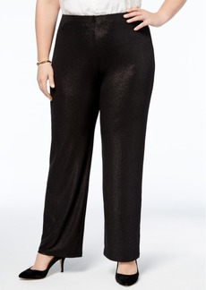 Alfani Plus Size Metallic Pull-On Pants, Created for Macy's
