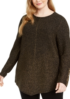 Alfani Plus Size Metallic Ribbed-Knit Tunic Sweater, Created for Macy's