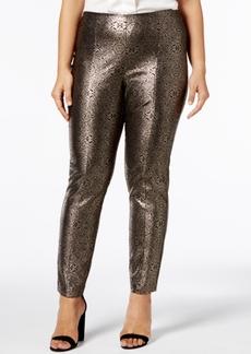 Alfani Plus Size Metallic Skinny Pants, Created for Macy's