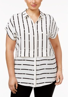 Alfani Plus Size Mixed-Stripe Blouse, Only at Macy's