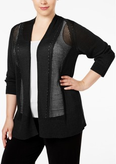 Alfani Plus Size Multi-Stitch Textured Cardigan, Only at Macy's