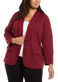 Alfani Plus Size Notched-Collar Open-Front Blazer, Created for Macy's