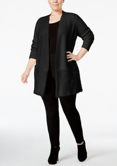 Alfani Plus Size Open-Front Eyelash Cardigan, Only at Macy's