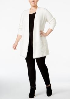 Alfani Plus Size Open-Front Eyelash Cardigan, Only at Macy's