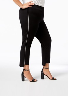Alfani Plus Size Piping-Trim Step-Hem Pants, Created for Macy's