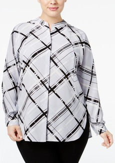 Alfani Plus Size Plaid Shirt, Only at Macy's