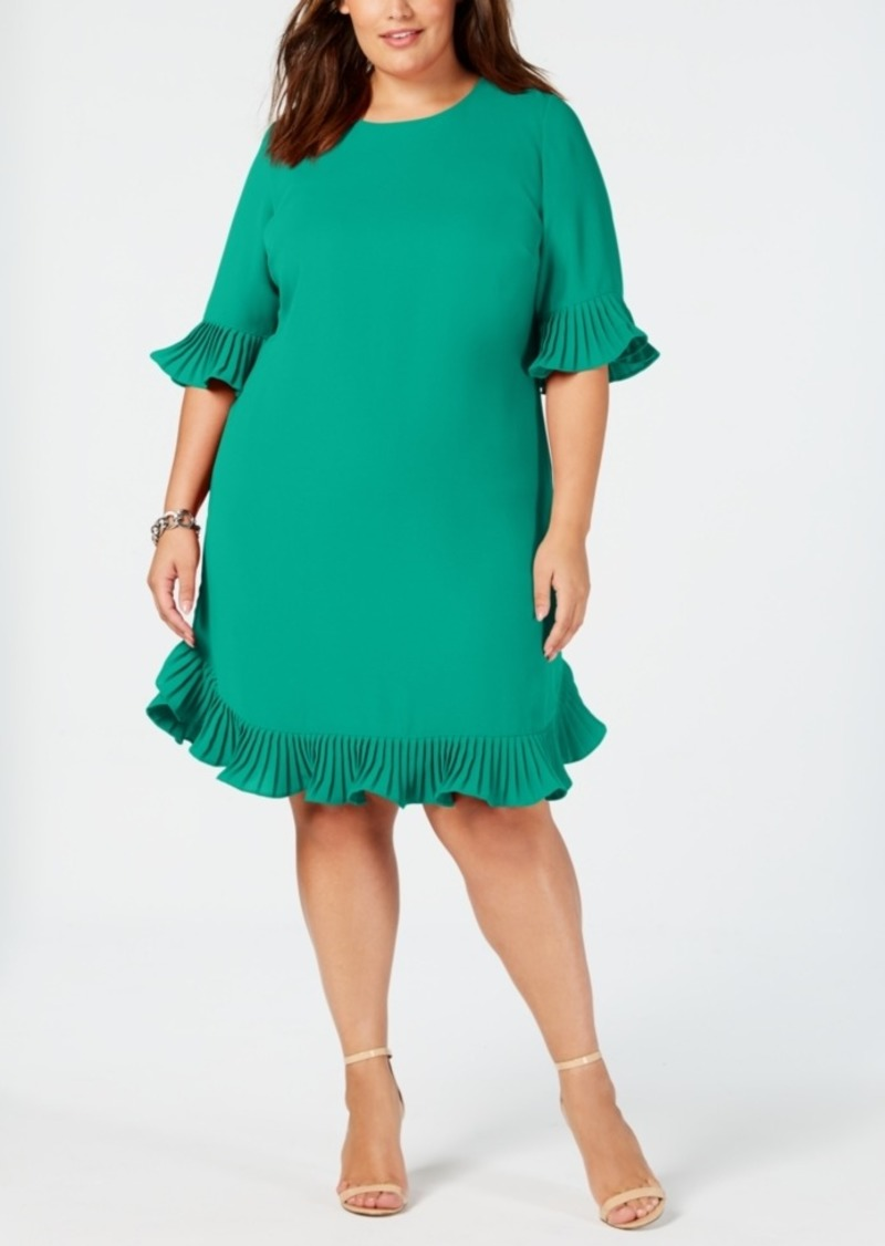 Alfani Alfani Plus Size Pleated Flounce Dress, Created for Macy\'s ...