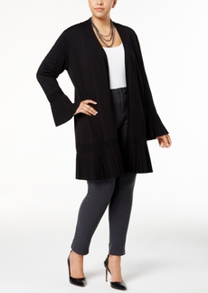 Alfani Plus Size Pleated-Trim Duster Cardigan, Created for Macy's