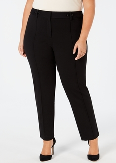 Alfani Plus Size Ponte-Knit Rivet-Detail Slim Pants, Created for Macy's