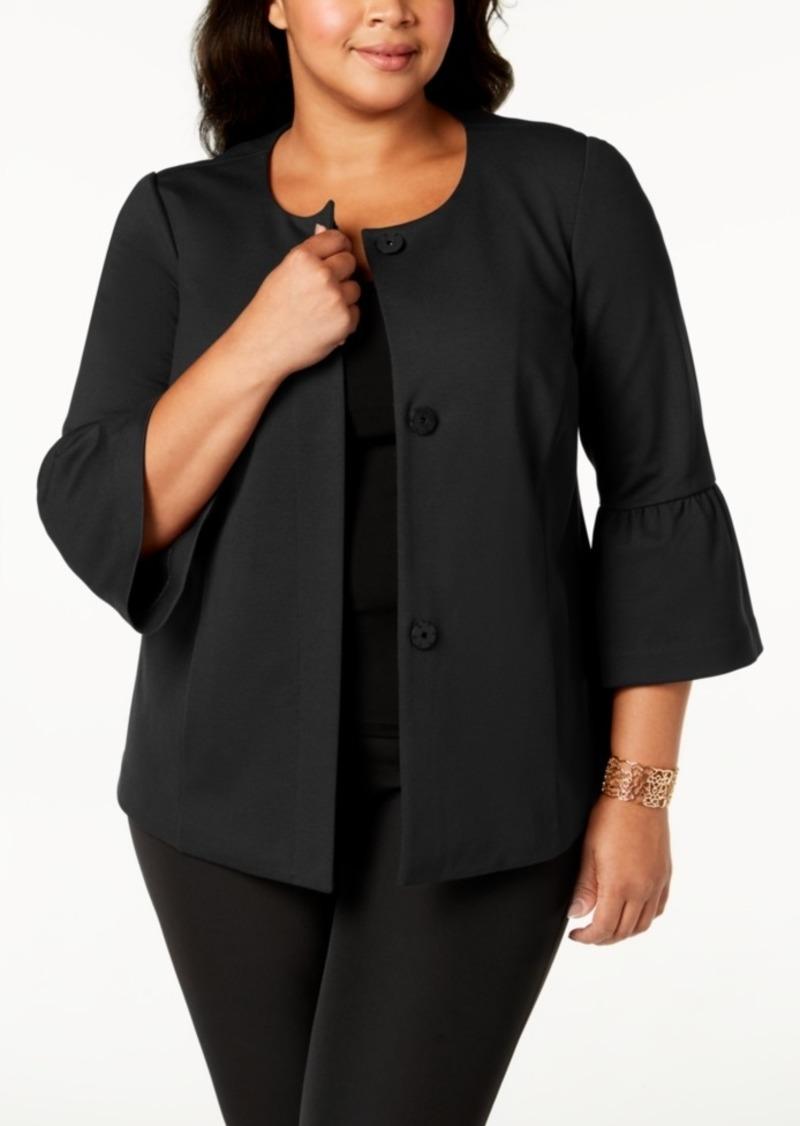 0484ff441e5 On Sale today! Alfani Alfani Plus Size Ponte-Knit Ruffle-Cuff Jacket ...