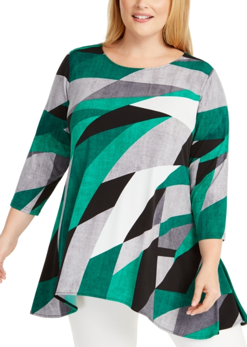 Alfani Plus Size Printed Asymmetric Top, Created for Macy's