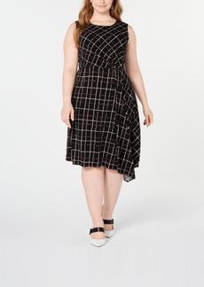 Alfani Plus Size Printed Asymmetrical Dress, Created for Macy's