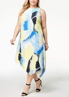 Alfani Plus Size Printed Asymmetrical-Hem Dress, Created for Macy's