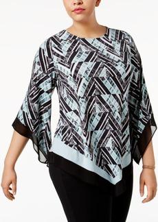 Alfani Plus Size Printed Asymmetrical-Hem Tunic, Only at Macy's