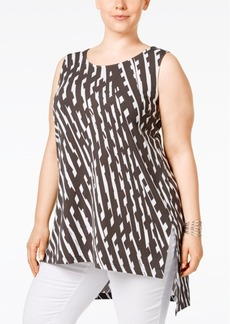 Alfani Plus Size Printed Asymmetrical Tunic, Only at Macy's