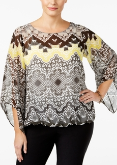 Alfani Plus Size Printed Bell-Sleeve Top, Only at Macy's