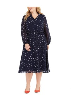 Alfani Plus Size Printed Belted Shirtdress, Created For Macy's