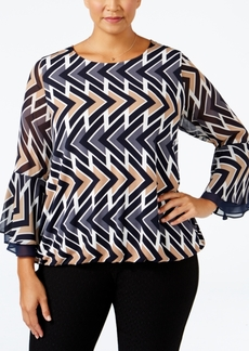 Alfani Plus Size Printed Blouson Top, Only at Macy's