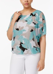 Alfani Plus Size Printed Bubble-Hem Top, Created for Macy's