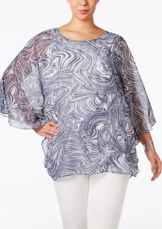 Alfani Plus Size Printed Chiffon Blouse, Only at Macy's