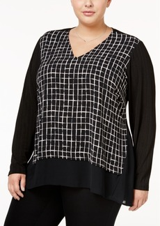 Alfani Plus Size Printed Chiffon-Hem Top, Only at Macy's