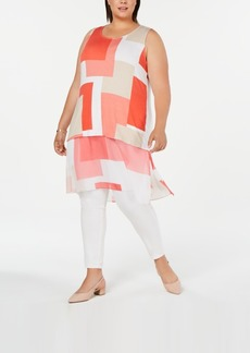 Alfani Plus Size Printed Chiffon-Hem Tunic, Created for Macy's