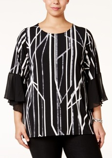 Alfani Plus Size Printed Chiffon-Trim Top, Only at Macy's