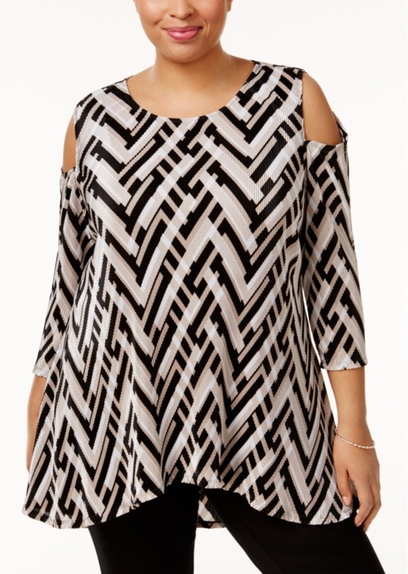 Alfani Plus Size Printed Cold-Shoulder Swing Top, Only at Macy's