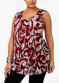 Alfani Plus Size Printed Draped Top, Created for Macy's