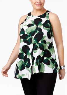 Alfani Plus Size Printed Draped Top, Only at Macy's
