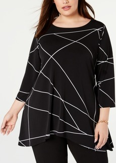 Alfani Plus Size Printed Handkerchief-Hem Top, Created for Macy's