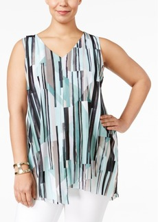 Alfani Plus Size Printed Handkerchief-Hem Top, Only at Macy's