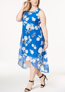 Alfani Plus Size Printed High-Low Midi Dress, Created for Macy's