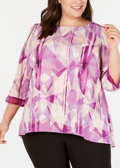 Alfani Plus Size Printed Illusion-Trim Blouse, Created for Macy's