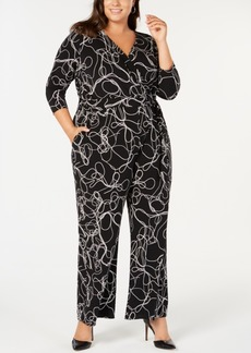 Alfani Plus Size Printed Jumpsuit, Created For Macy's