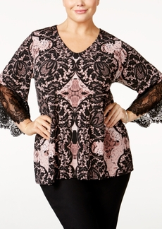 Alfani Plus Size Printed Lace-Trim Top, Only at Macy's