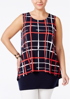 Alfani Plus Size Printed Layered Top, Only at Macy's
