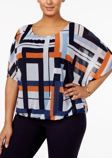 Alfani Plus Size Printed Mesh Flutter-Sleeve Bubble Top, Created for Macy's
