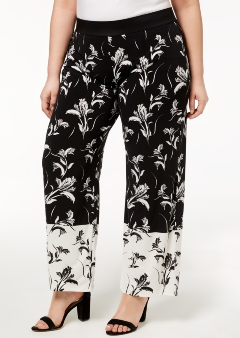 Alfani Plus Size Printed Palazzo Pants, Created for Macy's