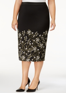 Alfani Plus Size Printed Pencil Skirt