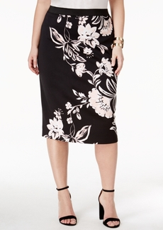 Alfani Plus Size Printed Pencil Skirt, Only at Macy's