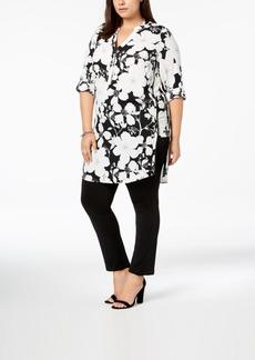 Alfani Plus Size Printed Pom-Pom-Trim Tunic, Created for Macy's