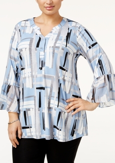 Alfani Plus Size Printed Ruffle-Sleeve Blouse, Only at Macy's