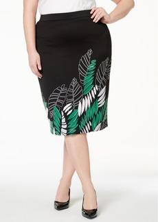 Alfani Plus Size Printed Scuba Midi Skirt, Created for Macy's