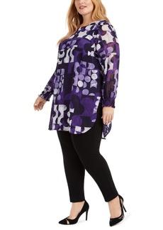Alfani Plus Size Printed Shirred-Cuff Tunic, Created For Macy's