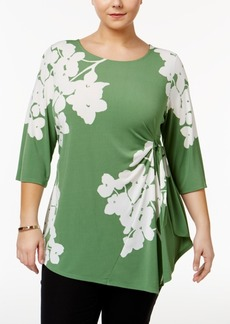 Alfani Plus Size Printed Side-Tie Asymmetrical Top, Only at Macy's