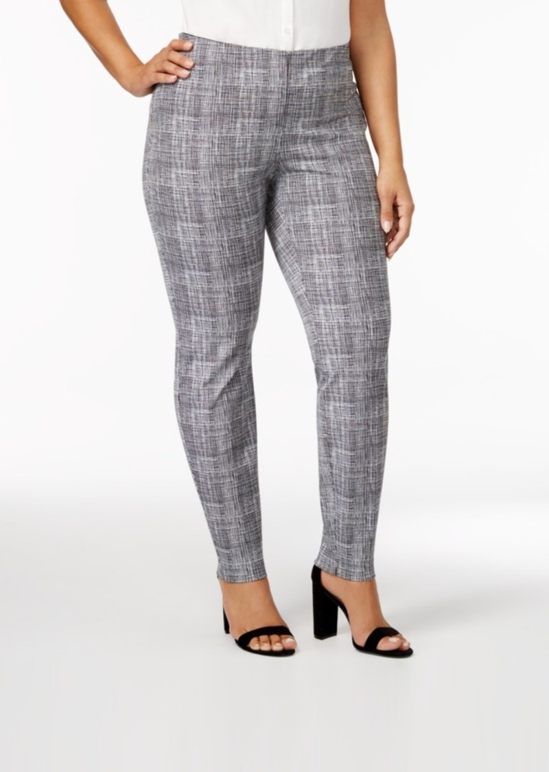 Alfani Plus Size Bi-Stretch Hollywood Printed Skinny Pants, Created for Macy's