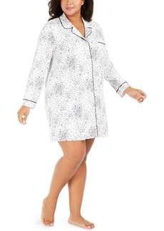 Alfani Plus Size Printed Sleepshirt Nightgown, Created For Macy's