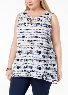 Alfani Plus Size Printed Split-Neck Tunic, Created for Macy's